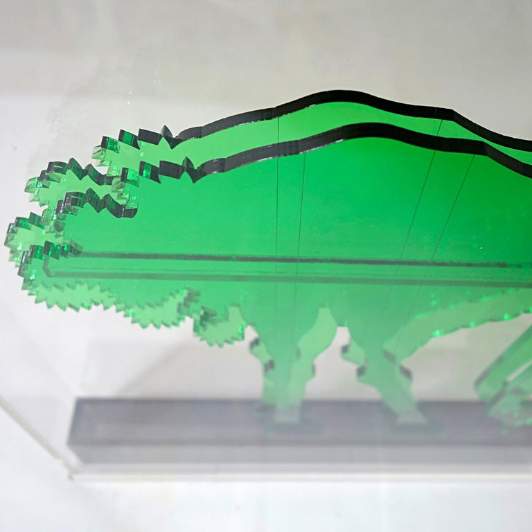 20th Century Op-Art Style Green Plexiglass Ostrich Made by Gino Marotta For Sale
