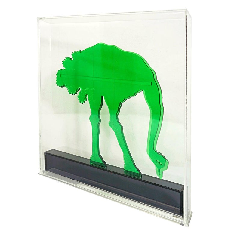 Op-Art Style Green Plexiglass Ostrich Made by Gino Marotta For Sale