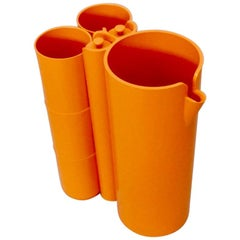 Op Pop Mod French Orange Plastic Pitcher with Cups and Stirrers Cocktail Set