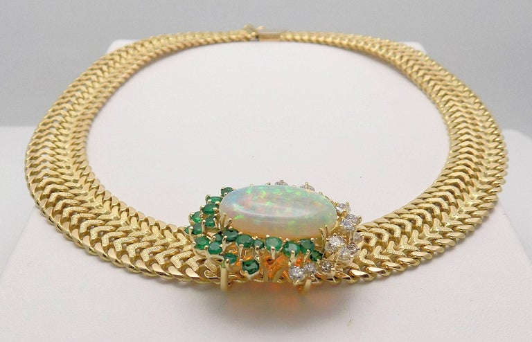 Women's Opal and Diamond Necklace For Sale