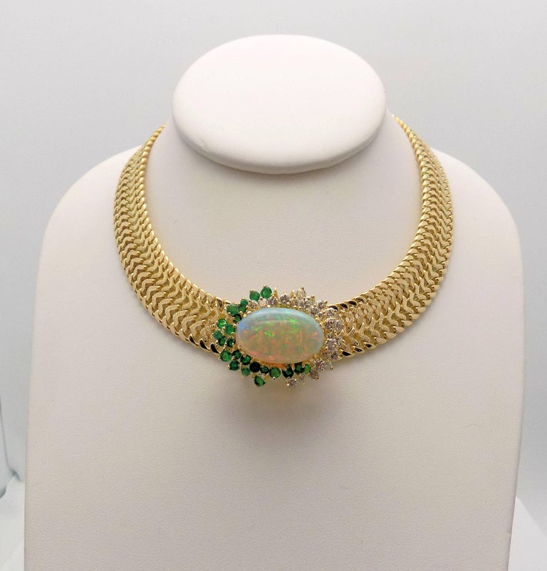 Opal and Diamond Necklace For Sale 2