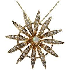 Opal 10 Karat Gold Lavalier Necklace Sunburst Seed Pearl