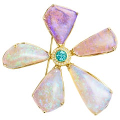 Susan Lister Locke Opal, 1.13 Carat Paraiba, and Diamond Pin/Pendant