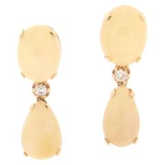 Opal 14 Karat Yellow Gold, Diamonds Drop Earrings