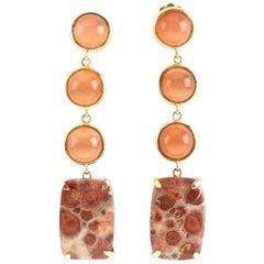 Opal 18 Karat Gold Jasper Earrings