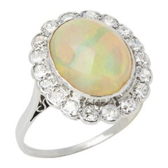Opal 18 Karat White Gold Opal and Diamond Vintage Cluster Ring