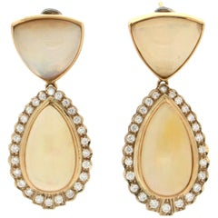 Opal 18 Karat Yellow Gold Diamonds Drop Earrings