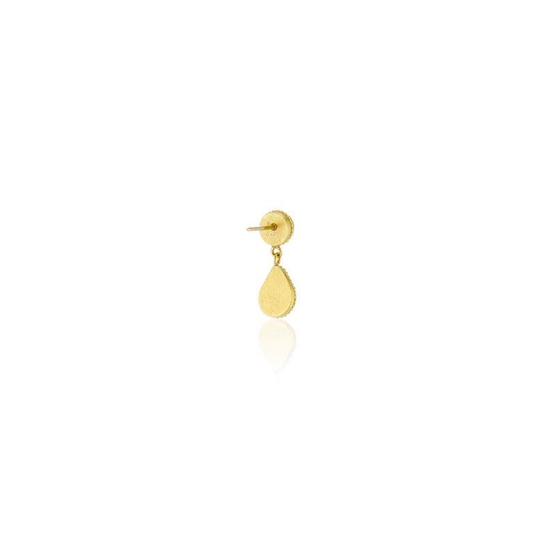 Pear Cut Opal 22 Karat Granulation Drop Dangle Earrings 18 Karat Yellow Posts and Backs For Sale