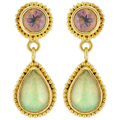 Opal 22 Karat Granulation Drop Dangle Earrings 18 Karat Yellow Posts and Backs