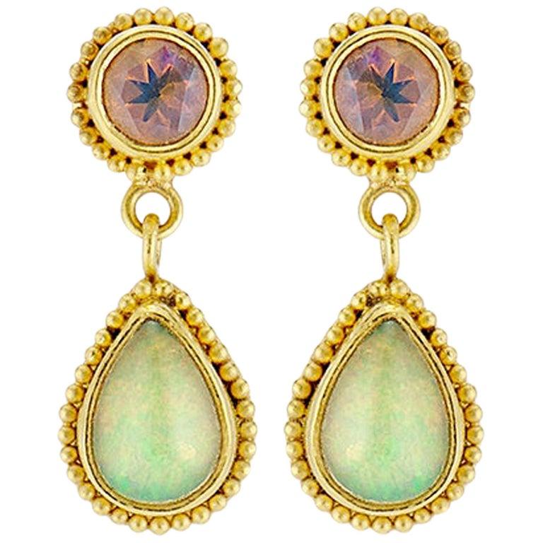 Opal 22 Karat Granulation Drop Dangle Earrings 18 Karat Yellow Posts and Backs For Sale
