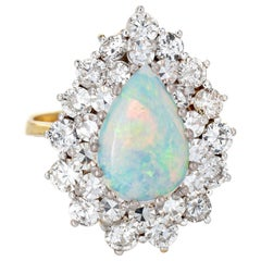 Opal 2ct Diamond Ring Vintage 14k Yellow Gold Pear Estate Gemstone Engagement