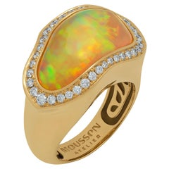Opal 7.47 Carat Diamonds 18 Karat Yellow Gold Ring