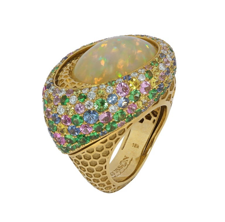 Opal 9.14 Carat Diamonds Sapphires 18 Karat Yellow Gold Honeycombs Ring  This ring is full of sweeteness!!! Yellow honeycombs of 18K Gold meets with multicolor confeture of Yellow, Pink, Blue Sapphires, Tsavorites and Diamonds around appetizing