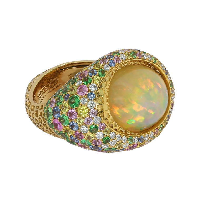 Oval Cut Opal 9.14 Carat Diamonds Sapphire 18 Karat Yellow Gold Honeycombs Ring For Sale