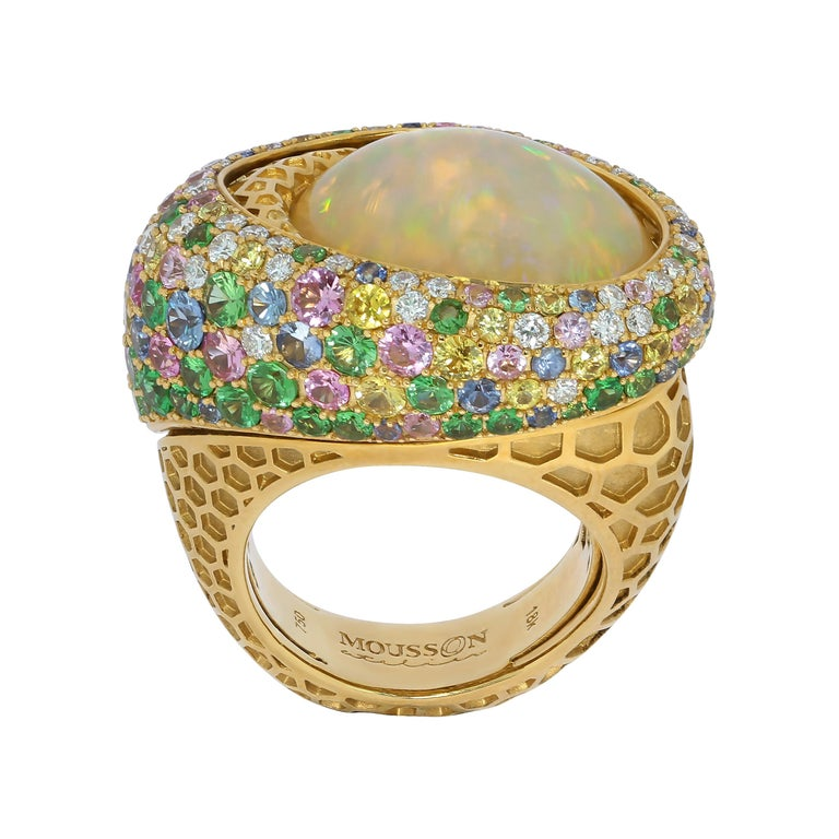 Opal 9.14 Carat Diamonds Sapphire 18 Karat Yellow Gold Honeycombs Ring For Sale
