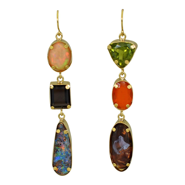Opal, Agate and Peridot Multi-Gemstone 22 Karat Gold Dangle Earrings