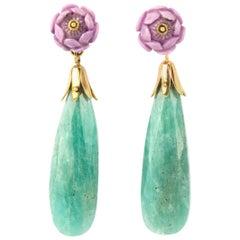 Opal Amazzonite 18 Karat Gold Earrings