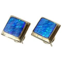Opal and 18 Karat Gold Earrings