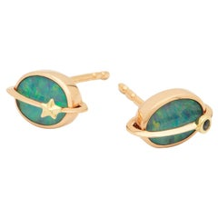 Opal and 18k Golden Planet Studs