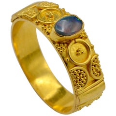 Opal and 22 Karat Gold Granulated Cigar Band Ring
