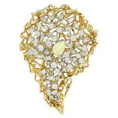 Opal And 4.60 Carat Diamonds 18 Karat Yellow Gold Brooch