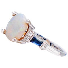 Opal and Baguette Blue Sapphire Solitaire Diamond Ring VS 14 Karat White Gold