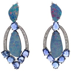 Opal and Blue Sapphire Slice Chandelier Earrings