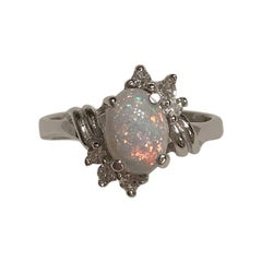 Opal and Diamond 10 Karat Gold Ring