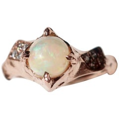 Opal and Diamond Asymmetrical 14 Karat Rose Gold Ring