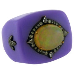 Opal and Diamond Bakelite Ring