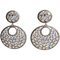 Opal and Diamond Chandelier Dangle Earrings