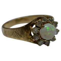 Opal and Diamond Cluster Ring 10 Karat Gold