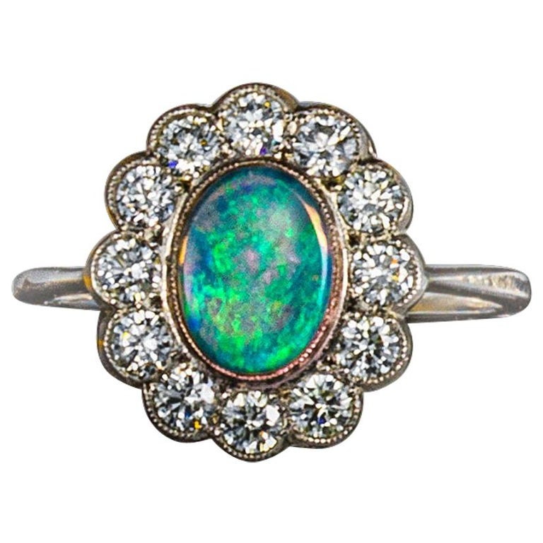 Opal and Diamond Cluster Ring For Sale