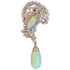 Opal and Diamond Drop Brooch