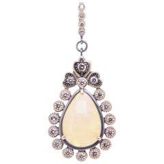 Opal and Diamond Gold Pendant Necklace Cynthia Ann Jewels Estate Fine Jewelry