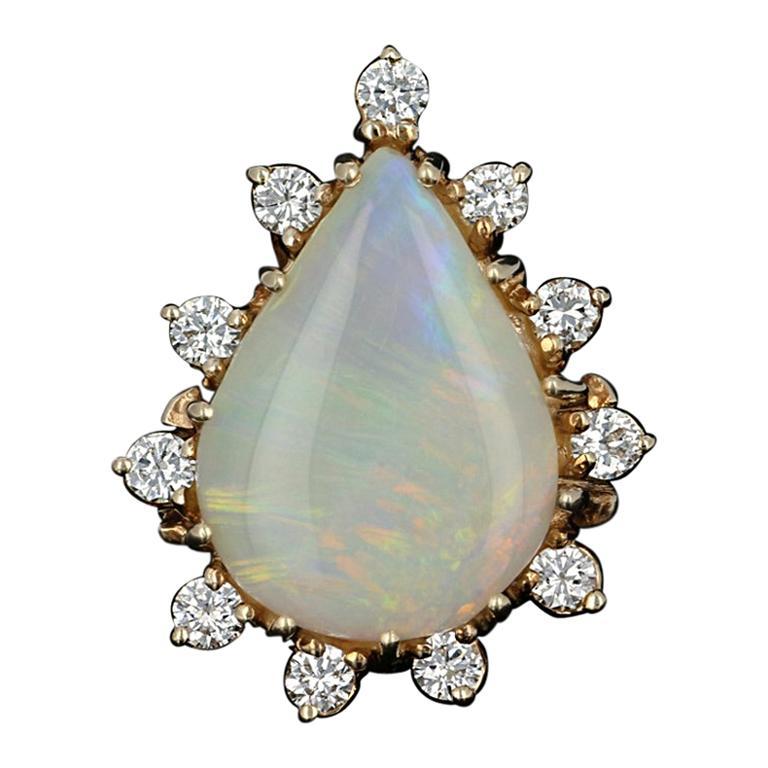 Opal and Diamond Halo Cocktail Ring, 14 Karat Gold Pear Cabochon .60 Carat
