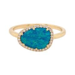 Opal and Diamond Halo Ring, Yellow Gold, Organic Shape Opal .88 Carat