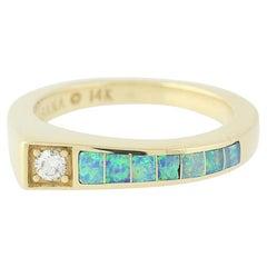 Opal and Diamond Kabana Ring, 14 Karat Yellow Gold Contemporary Women's