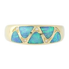 Opal and Diamond Kabana Ring, 14 Karat Yellow Gold