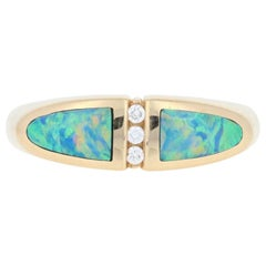 Opal and Diamond Kabana Ring, 14 Karat Yellow Gold Women's