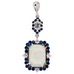 Opal and Diamond Pendant with Sapphire and Diamond Halos Set in 18 Karat Gold