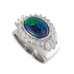 Opal and Diamond Platinum Band Ring
