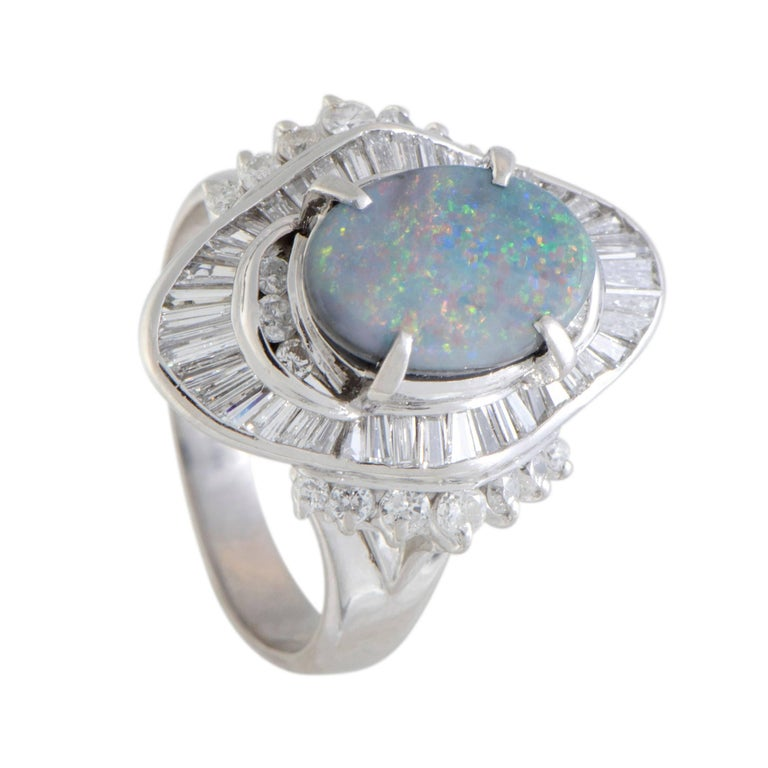 Opal and Diamond Platinum Cocktail Ring