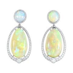 Cicada Opal and Diamond Platinum Dangle Earrings