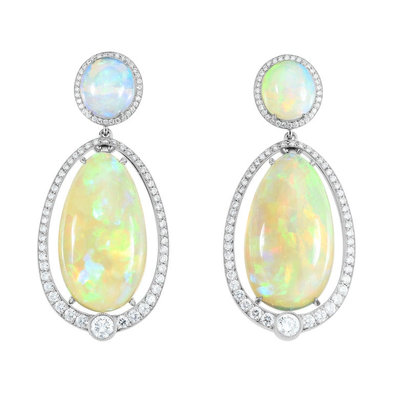 Opal and Diamond Platinum Dangle Earrings For Sale
