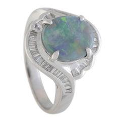 Opal and Diamond Platinum Ring