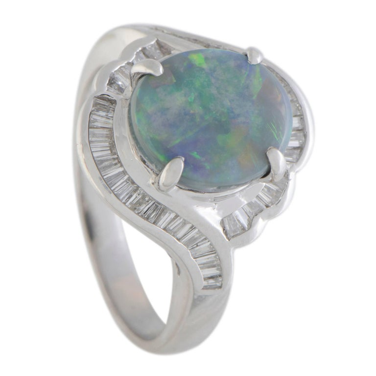 Opal and Diamond Platinum Ring