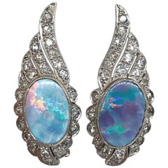 Opal and Diamond Platinum Wing Clip-On Earrings