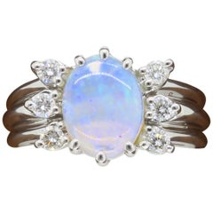 Opal and Diamond Ring Made in 14 Karat White Gold