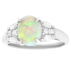 Opal and Diamond Ring Platinum